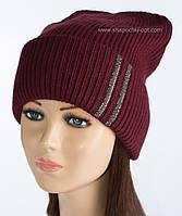 Теплая вязаная шапочка Ланвин бордовая