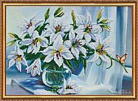 Набор для вышивки бисером на натуральном художественном холсте «Белые лилии»
