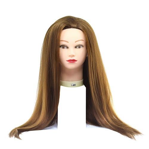 Голова для причесок с искусственными термо волосами русые
