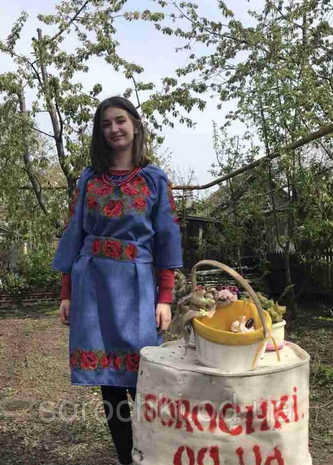 """Платье в этническом стиле, с вышивкой """"маки"""" , лен-габардин, синее"""