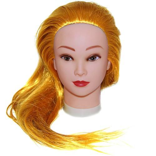 Голова для причесок с искусственными термо волосами русые 528-144