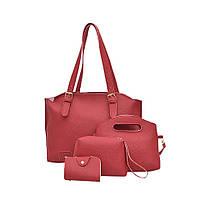Жіноча сумка в наборі + міні сумочка червона 4в1