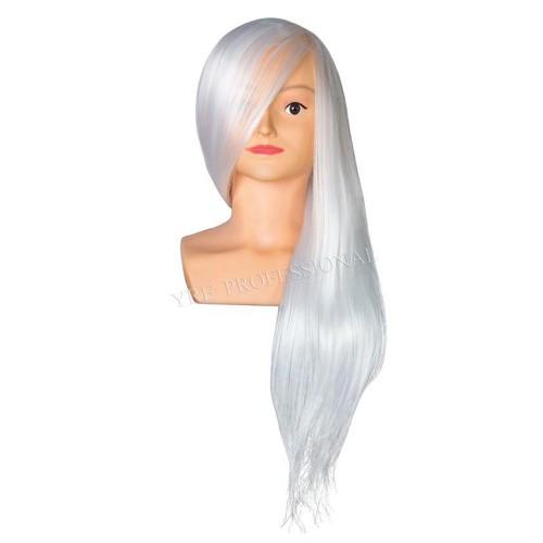 Голова для причесок с искусственными термо волосами светлые с плечами