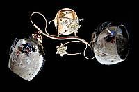 Нежная припотолочная люстра с двумя плафонами с цветочным узором и основанием античное золото Sirius