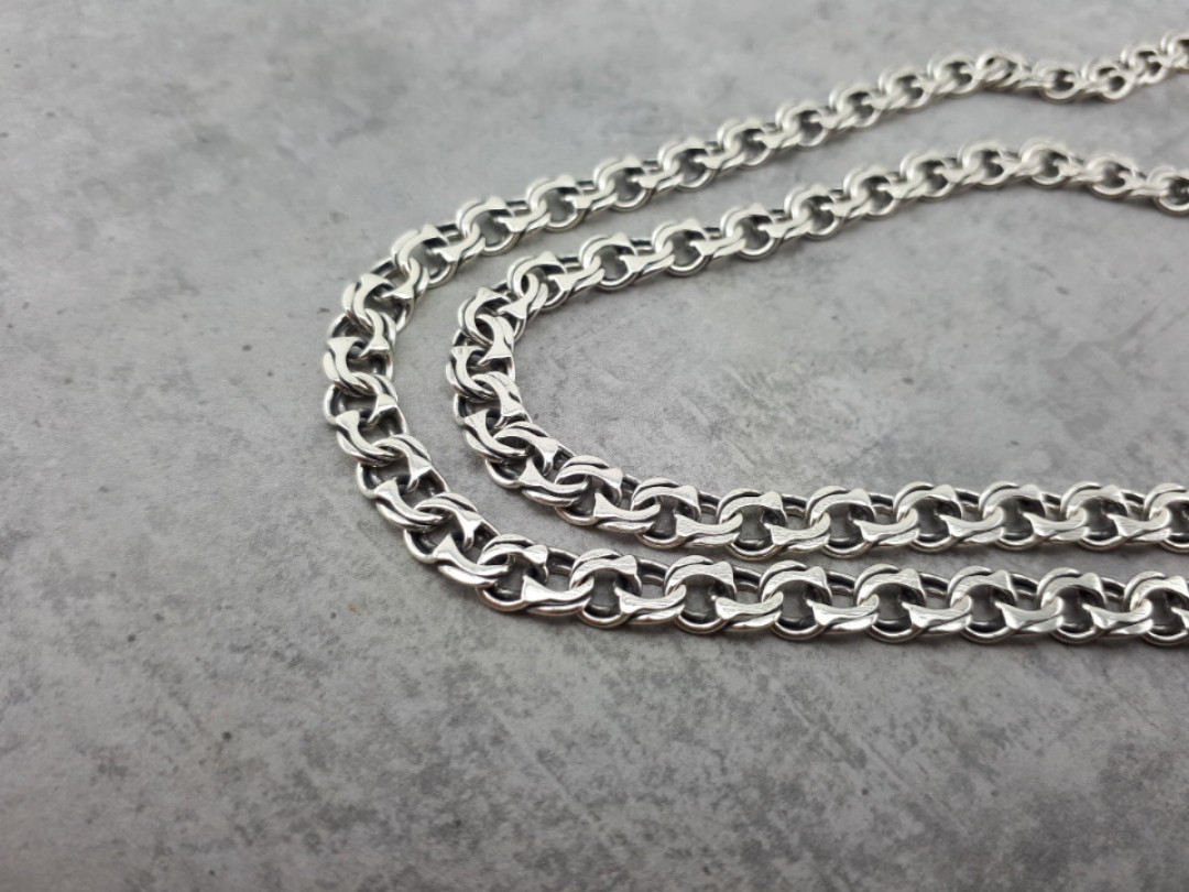 Серебряная цепочка Бисмарк (плоский, 24 грамма)