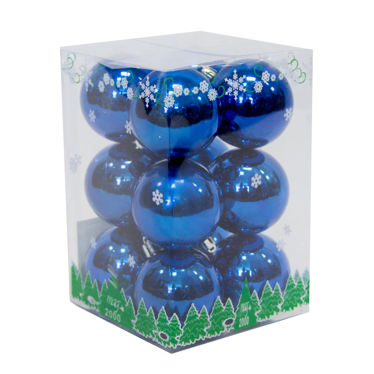 Набор елочных игрушки - шары в боксе, 12 см, D6 см, синий, глянцевый, пластик (890766)