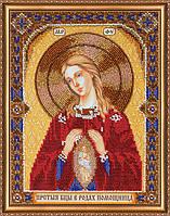 Набор для вышивки бисером на натуральном художественном холсте «Икона Богоматери «В родах помощница»