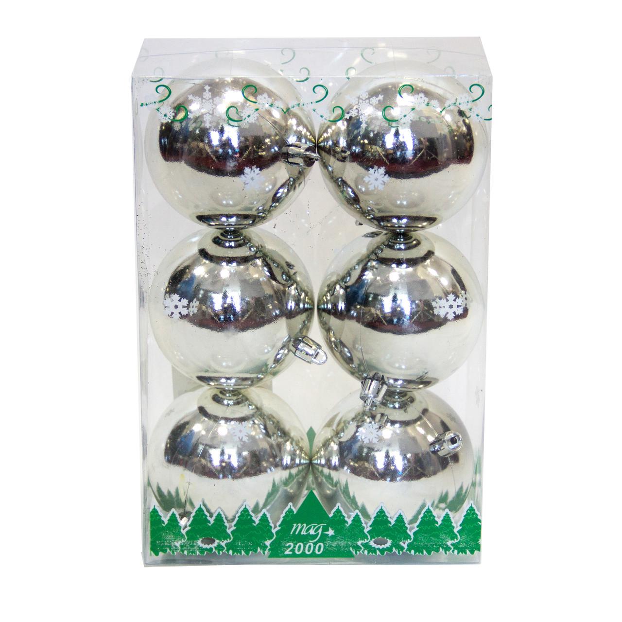 Набор елочных игрушек - шары в боксе, 6 шт, D8 см, серебристый, глянец, пластик (890810)