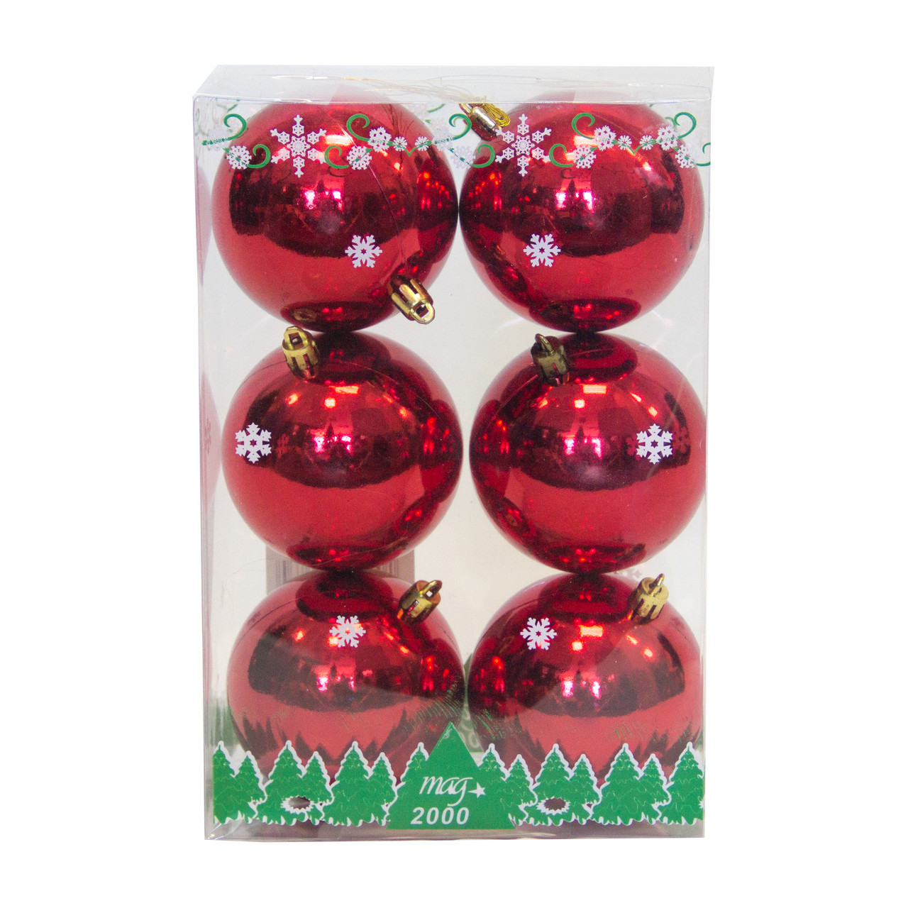 Набор елочных шаров в боксе 80*6 шт., пластик, глянец Красный (890834)