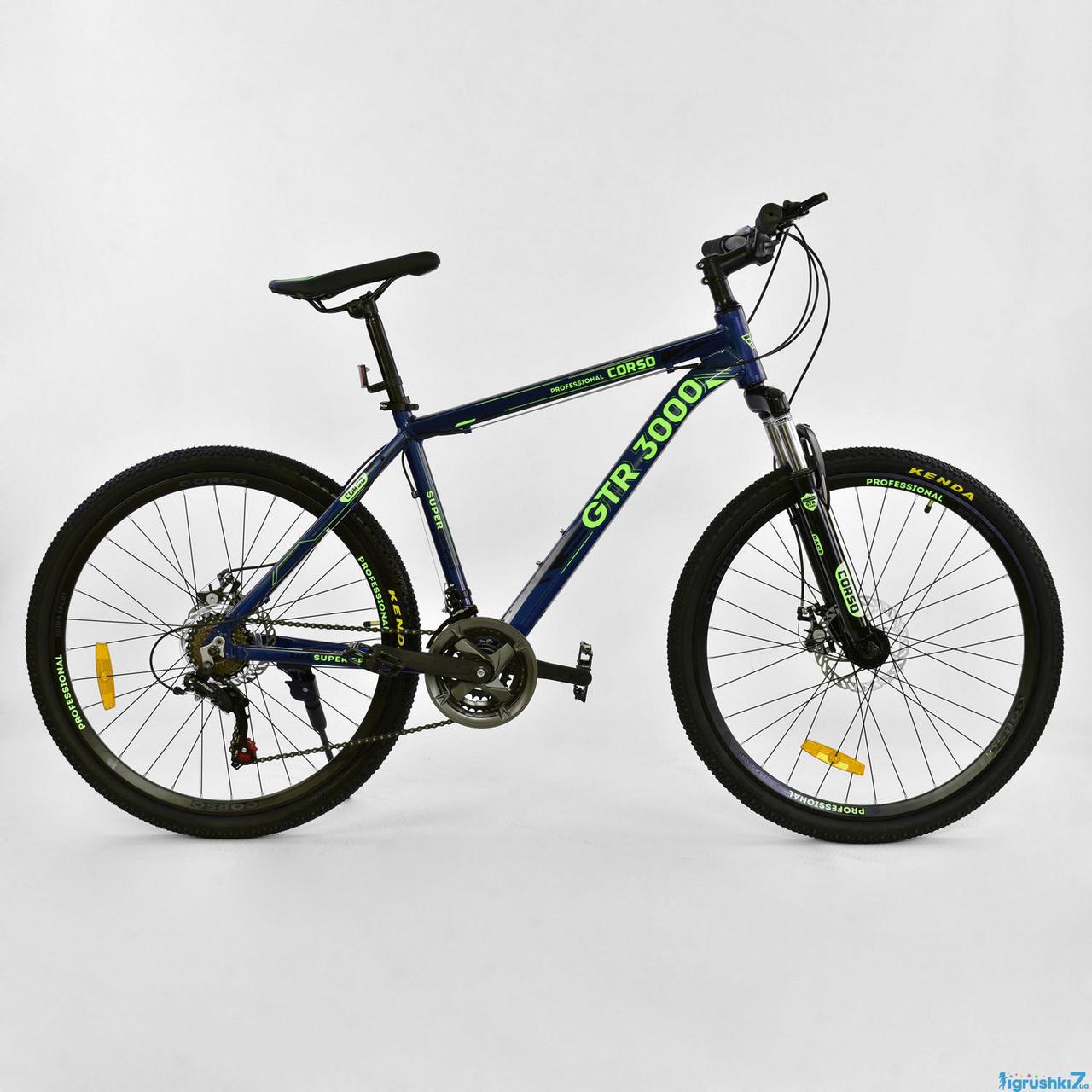 Спортивный алюминиевый велосипед 26 колеса 17 рама CORSO GTR-3000  переключатели Shimano