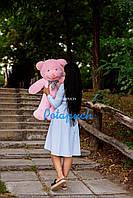 Великий плюшевий ведмедик Рой 100см рожевий