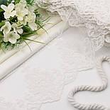 """Кружево с хлопковой вышивкой """"Вензельные арфы"""", цвет белый, ширина 15 см, фото 2"""