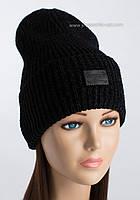 Теплая вязаная шапочка Шиншила цвет черный