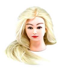 Голова для причесок с искусственными термо волосами белые MT-613