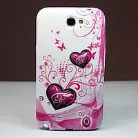 "Чехол TPU ""Two Hearts"" для Samsung Galaxy Note II N7100"