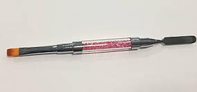Кисть с кристалами для полигеля 2 в 1 (кисть +шпатель) розовая