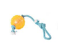 Игрушка мяч на веревке 38* Д8 см  для собак крупных пород