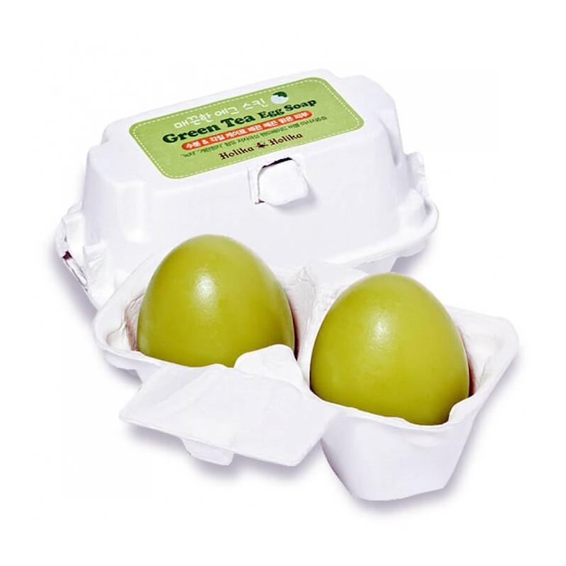 Мыло для умывания лица с зелёным чаем Holika Holika Green Tea Egg Soap 50 г + 50 г (8806334338107)