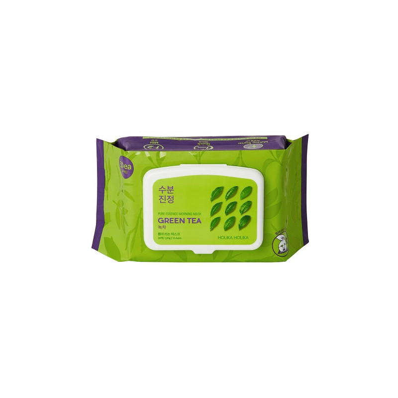 Увлажняющие экспресс-маски для лица с зеленым чаем Holika Pure Essence Morning Mask Green Tea 30 шт (8806334378219)