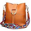 Женская сумка рыжая с цветным плечевым ремешком набор 2в1 экокожа