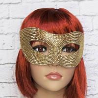 Венецианская маска со стразами (золото)