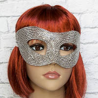 Венецианская маска со стразами (серебро)