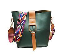 Женская сумка зеленая с цветным плечевым ремешком набор 2в1 экокожа, фото 1