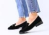 Туфлі з пензликом жіночі замшеві чорні на плоскій підошві
