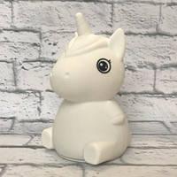 Силиконовый сенсорный ночник LED Единорог Baby (белый)