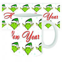 Чашка с принтом 63609 новогодняя Зеленый эльф