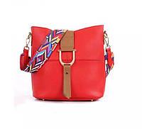 Жіноча сумка червона з кольоровим плечовим ремінцем набір 2в1 екошкіра, фото 1
