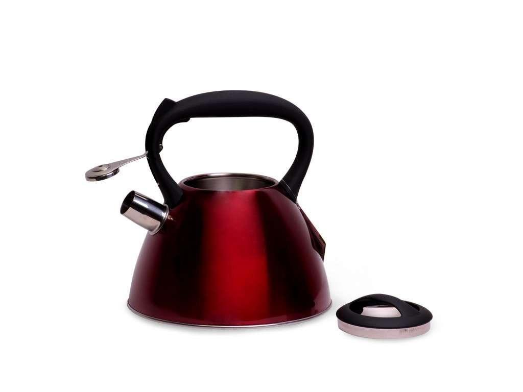 Красный чайник Kamille KM-0651C из нержавеющей стали со свистком и черной бакелитовой ручкой 3 л