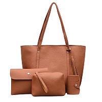 Женская сумка набор рыжий  4в1, фото 1