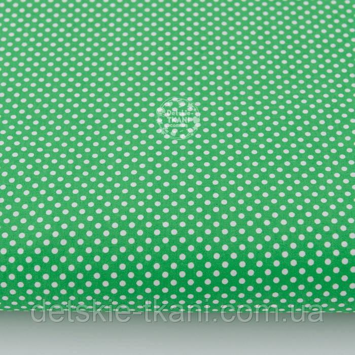 """Лоскут ткани """"Пунктирный горошек"""" белый на зелёном №2133 ,размер 29*70 см"""