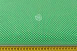 """Лоскут ткани """"Пунктирный горошек"""" белый на зелёном №2133 ,размер 29*70 см, фото 2"""