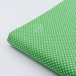 """Лоскут ткани """"Пунктирный горошек"""" белый на зелёном №2133 ,размер 29*70 см, фото 3"""