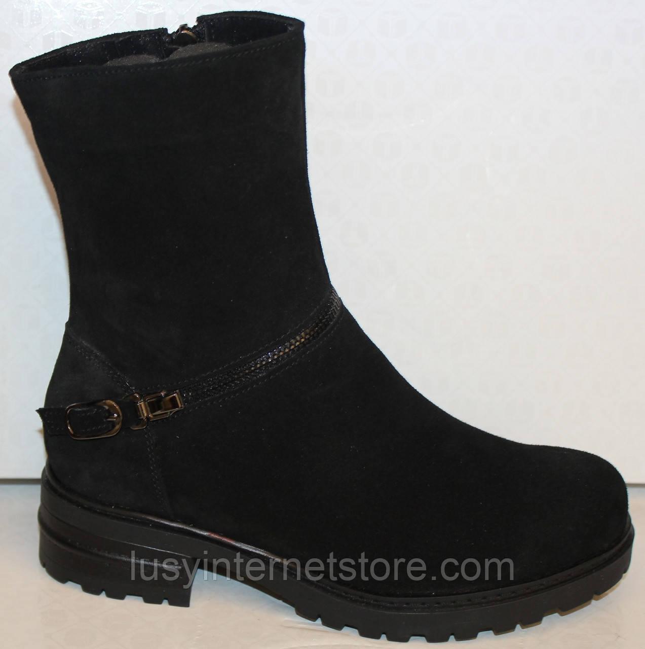 Ботинки черные женские зимние замшевые от производителя модель БМ314-1