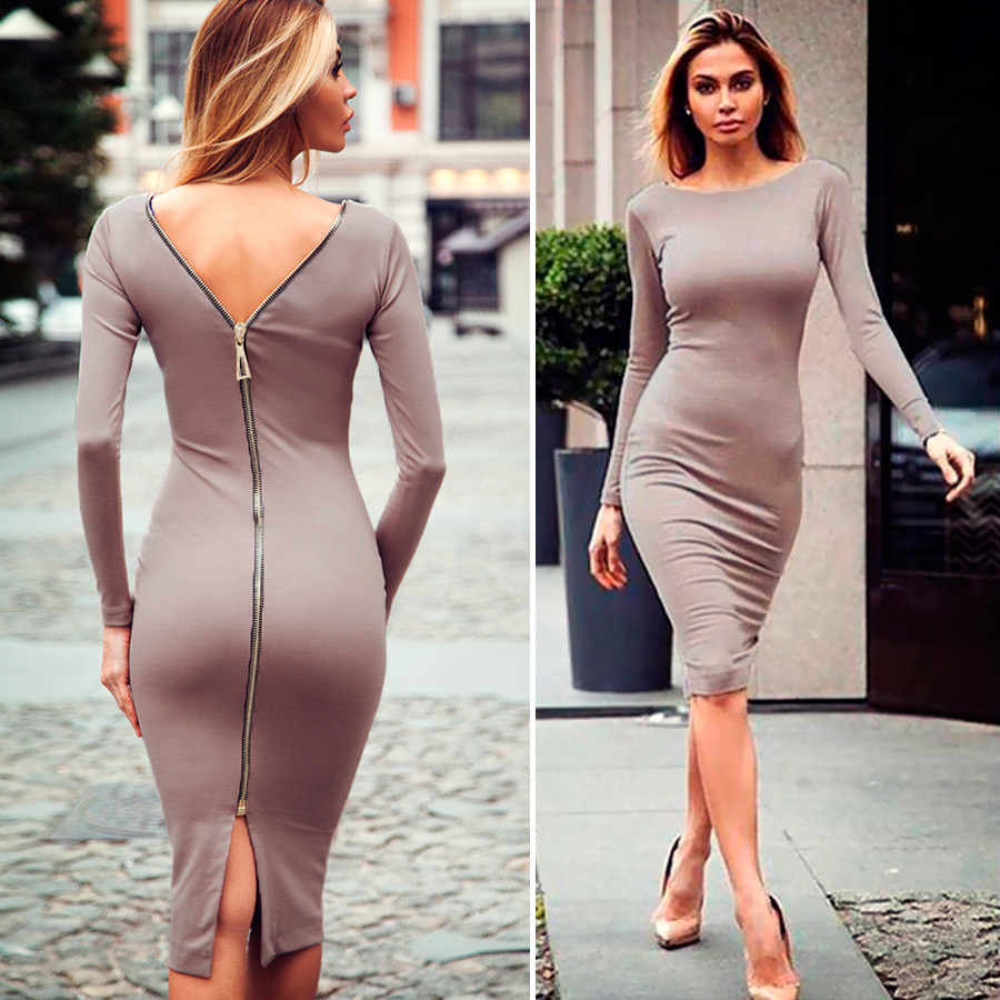 Платье на молнии цвета мокко (Код MF-189)