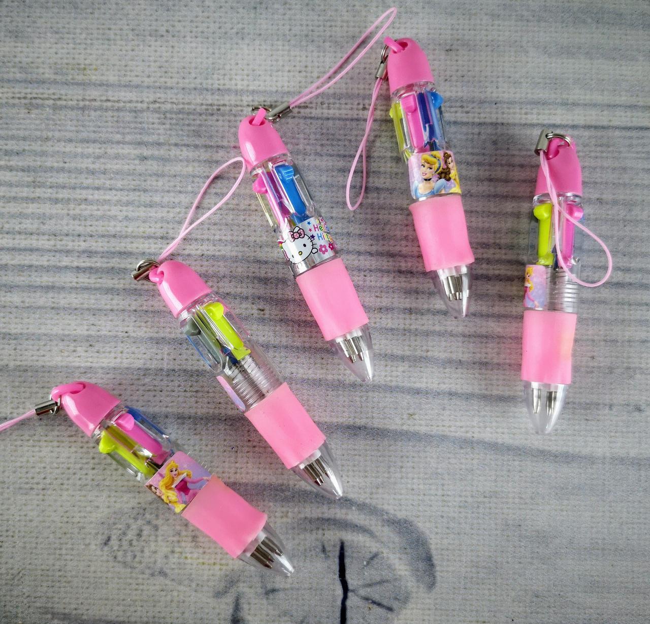Ручка Прикольная Дисней 4-х цветная 555А Брелок