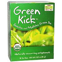 """Зеленый чай сенча и маття NOW Foods, Real Tea """"Green Kick"""" без кофеина, 24 пакетика (41 г)"""