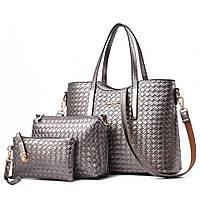 Женская сумка набор 3в1 + маленькая сумочка и клатч серебро