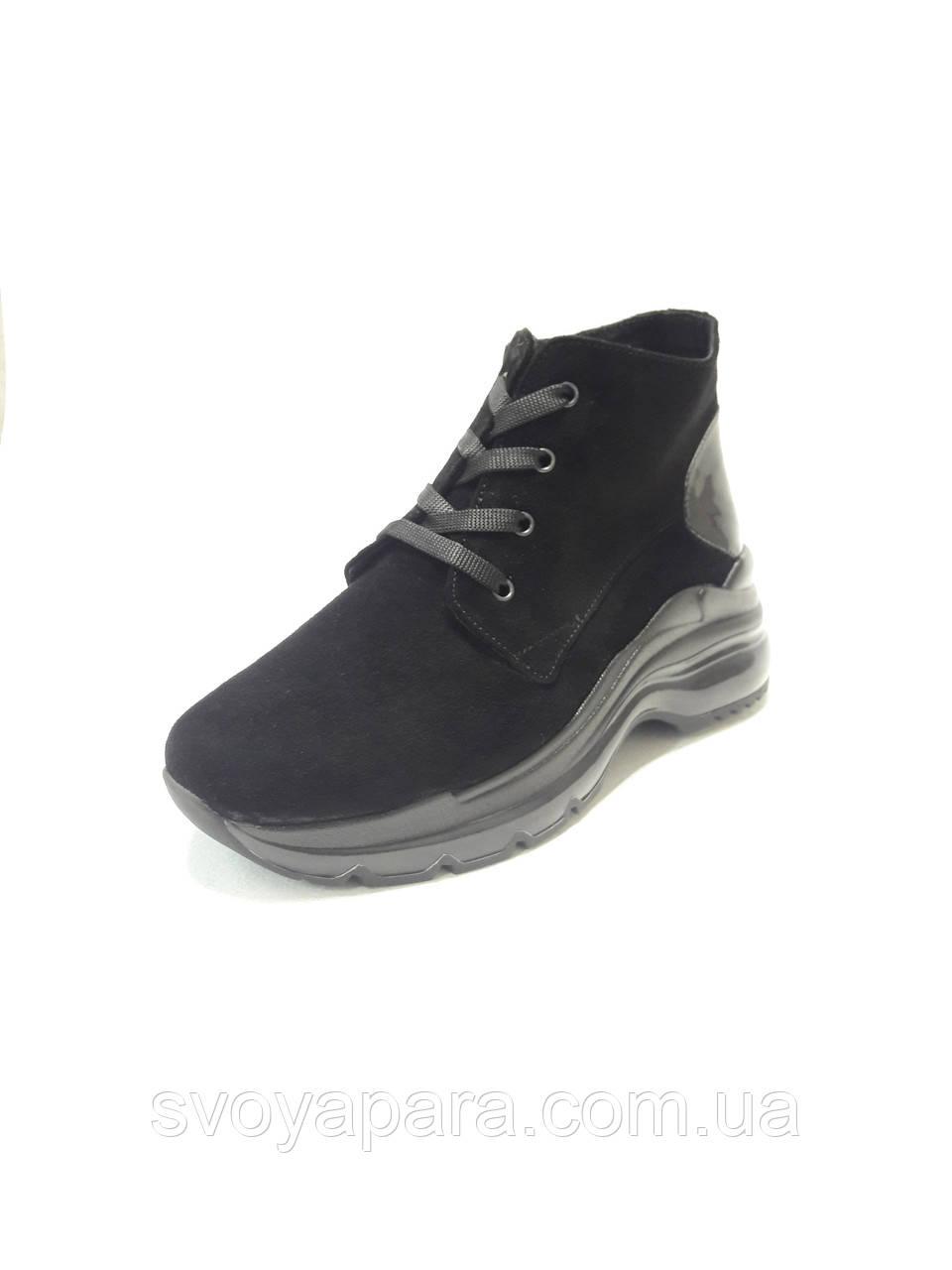 Женские демисезонные ботинки чёрные замшевые (100202)