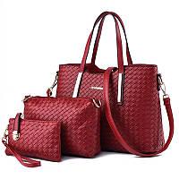 Женская сумка набор 3в1 + маленькая сумочка и клатч красный