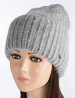 Женская шапочка из ангоры Тафина дымка+темно-серый