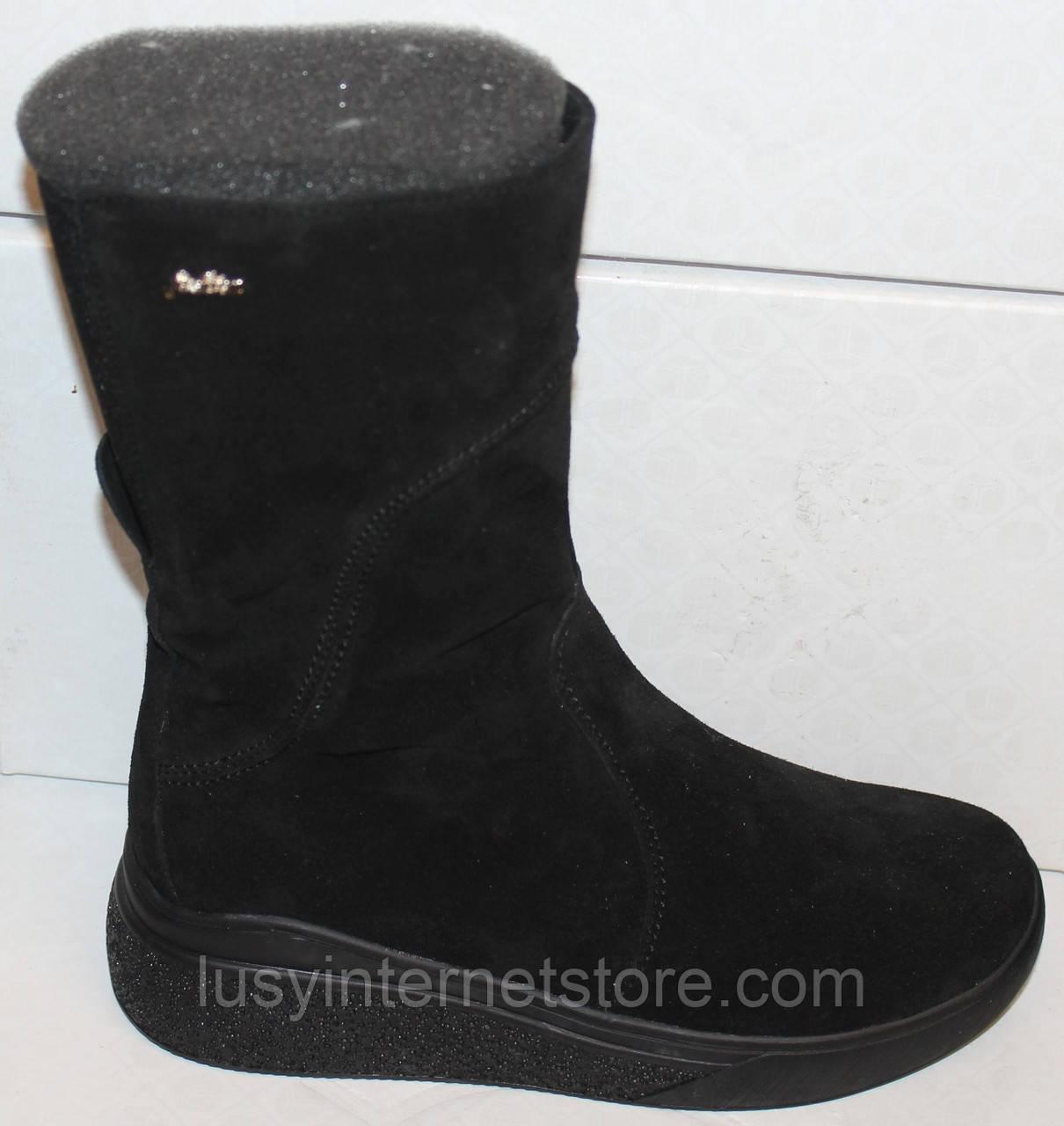 Сапоги черные женские зимние замшевые от производителя модель БМ301-1