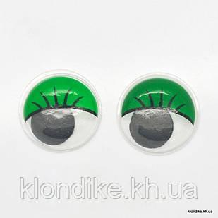Глазки для игрушек, Подвижные, Пластик, 15 мм, Цвет: Зелёный (5 пар)