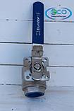 Кран шаровый нержавеющий 2-х составной с площадкой под пневмопривод DN 25, фото 2