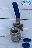 Кран шаровый нержавеющий 2-х составной с площадкой под пневмопривод DN 50, фото 3
