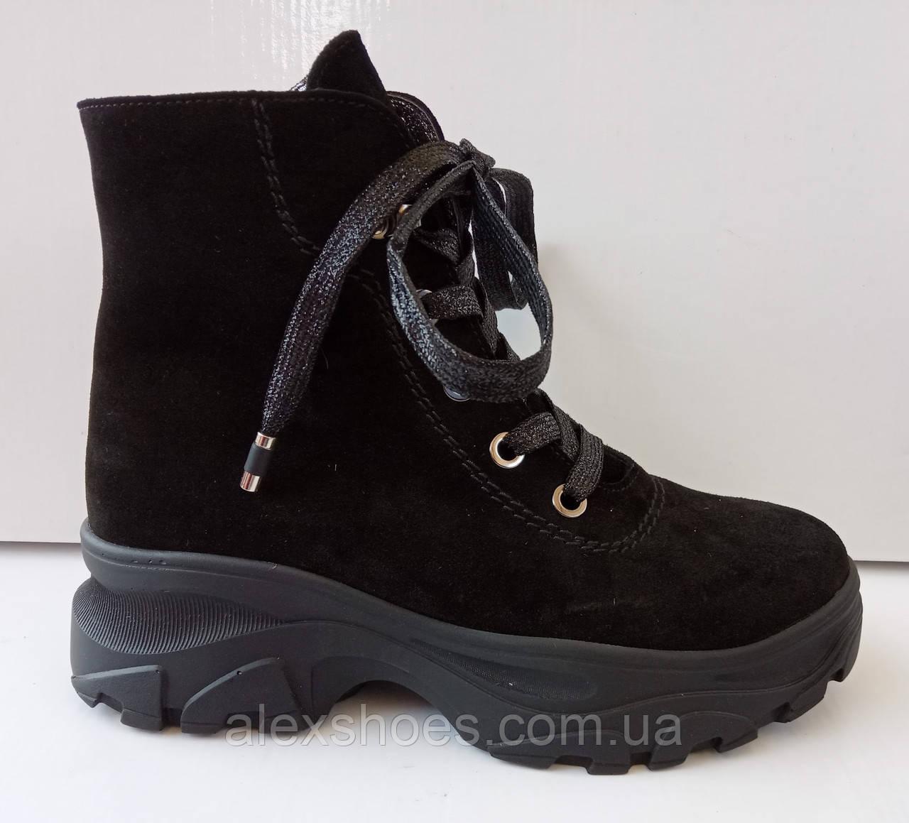 Ботинки женские зима на толстой подошве из натуральной замши от производителя модель ДИС777