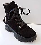 Ботинки женские зима на толстой подошве из натуральной замши от производителя модель ДИС777, фото 4